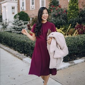 Burgundy/dark purple short sleeve midi dress
